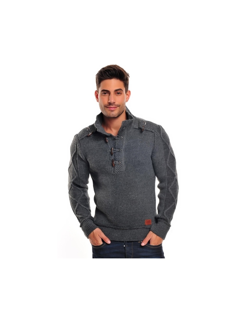 pull homme gris fashion