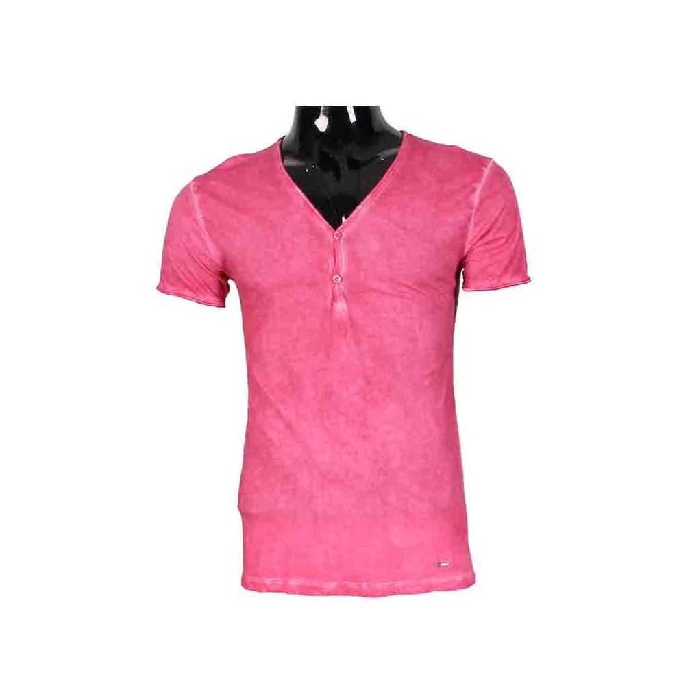 tee shirt homme col v de couleur rose r f t64 vetement homme fashion. Black Bedroom Furniture Sets. Home Design Ideas