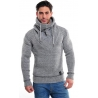 pull homme col chale gris