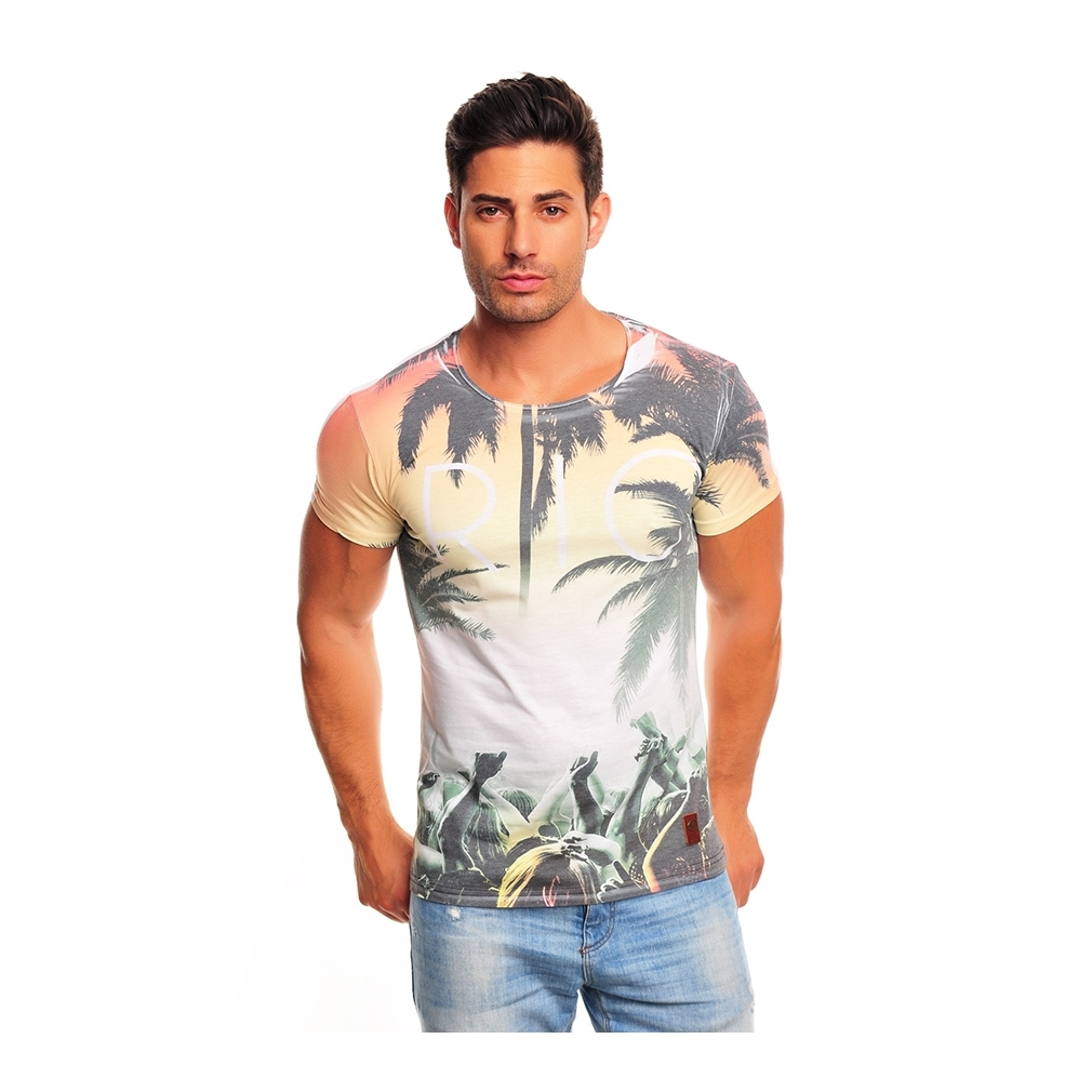 t shirt homme fashion rio pas cher r f rence t55 vetement tendance. Black Bedroom Furniture Sets. Home Design Ideas