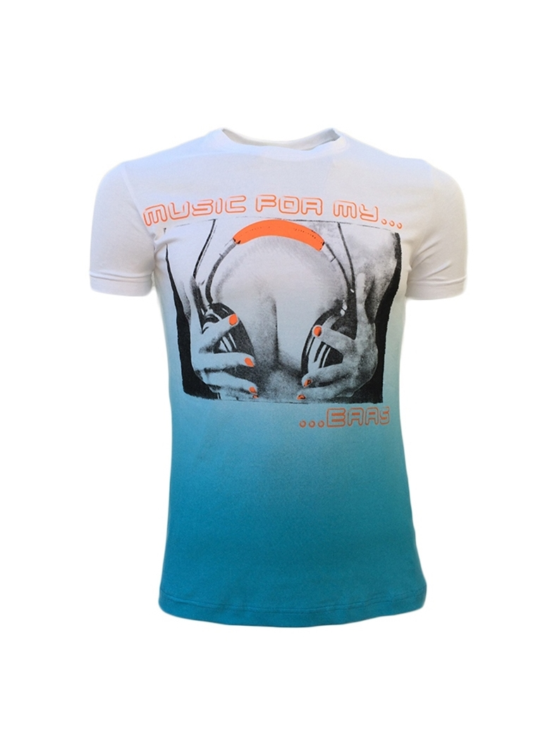 t shirt imprime col rond fashion bleu 2017