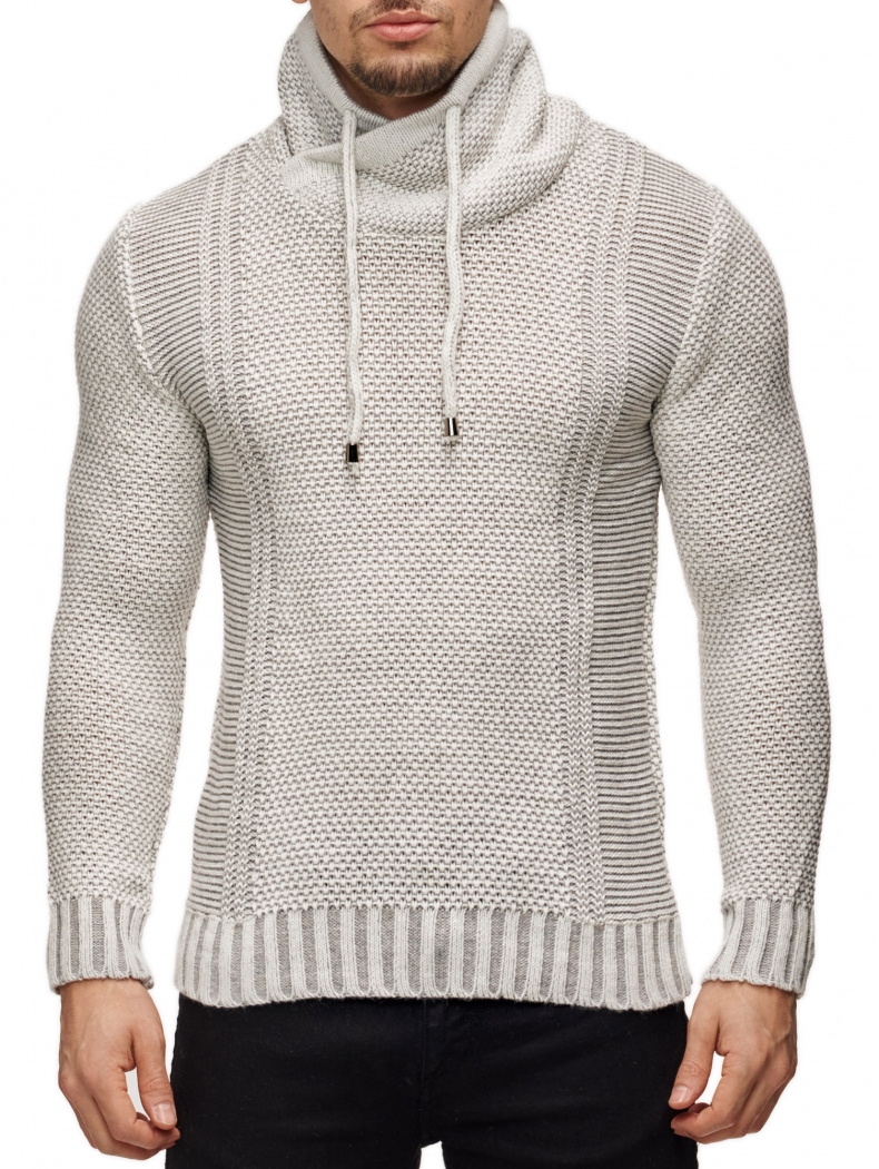 Pull beige homme col montant