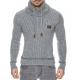 Pull gris homme col châle