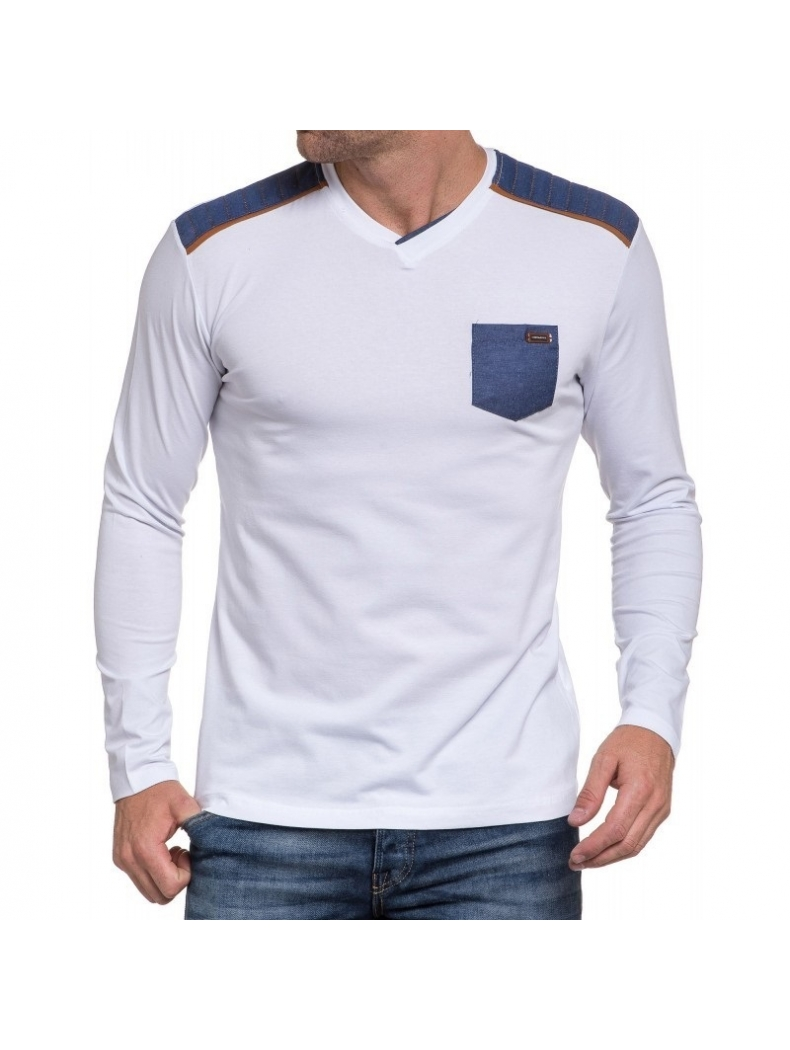 93151a7110c6 Tee shirt blanc homme manche longue - So Fashion Shop