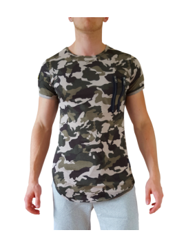 tee shirt imprime militaire style camouflage haute homme promo