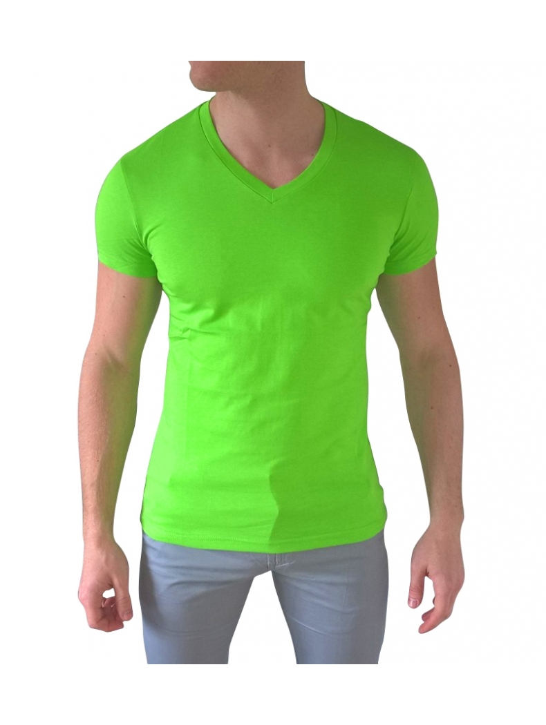 tee shirt slim col v de couleur vert pomme homme avec manches courtes. Black Bedroom Furniture Sets. Home Design Ideas
