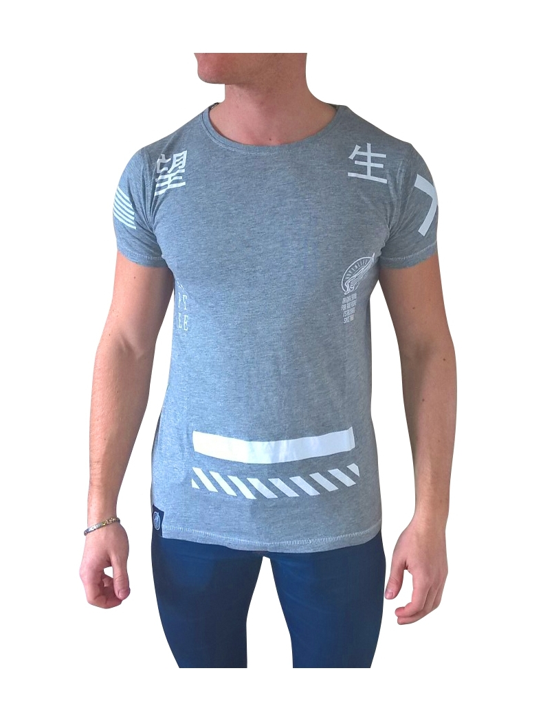 tee shi ecriture chinoise gris manches courtes pour homme