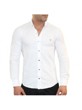 chemise cintree hommes fashion couleur blanche