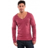 tee shirt col v homme manche longue rouge
