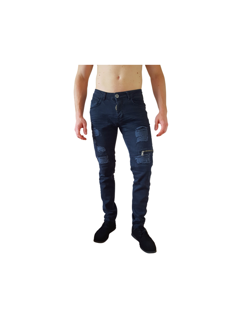 jeans bleu fashion dechire rape zip original