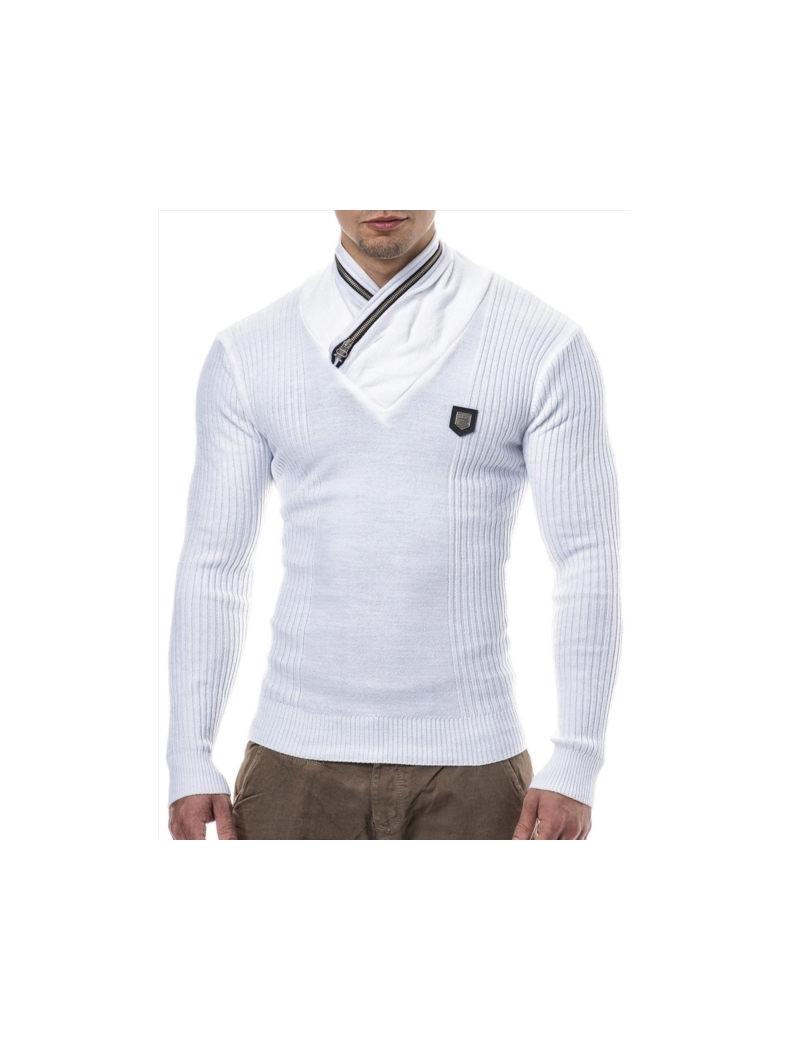 pull blanc homme col montant fashion pas cher e