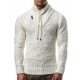 pull pas cher homme col chale blanc be