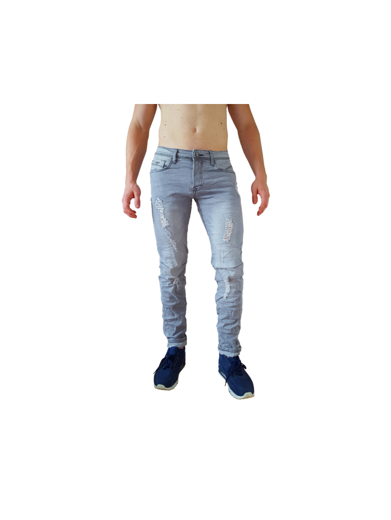 jean dechire mode homme fashion coupe slim bleu delave