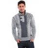 pull homme pas cher gris fashion col montant