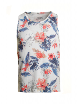 debardeur vacances colore fleur tropical polo slim sans manche
